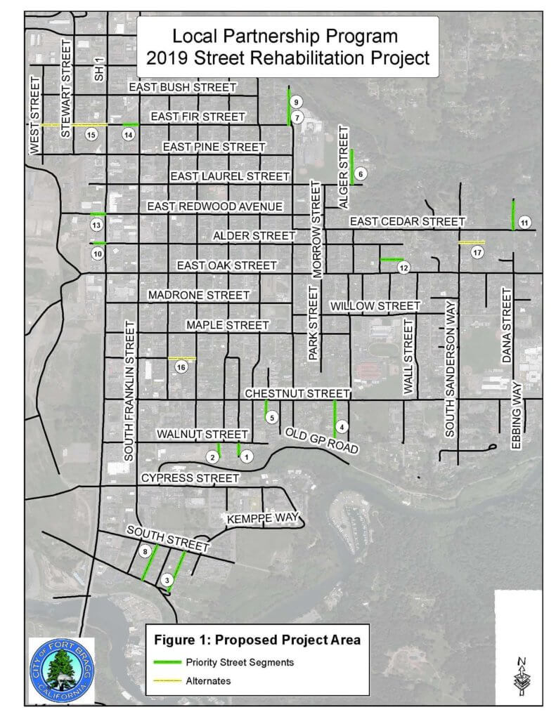Map of Fort Bragg Streets Improvement project